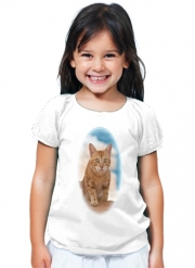 T-Shirt Girl Ginger kitten on a cliff