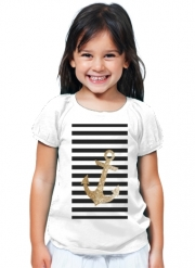 T-Shirt Fille gold glitter anchor in black