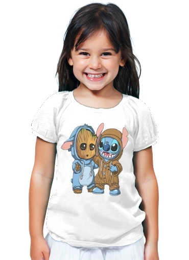 T-Shirt Fille Groot x Stitch