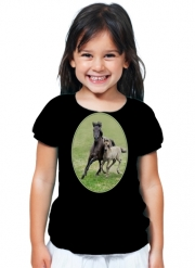 T-Shirt Girl Horses, wild Duelmener ponies, mare and foal