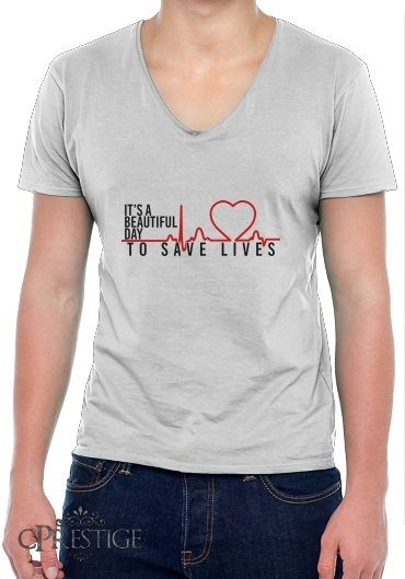 T-Shirt homme Col V Beautiful Day to save life