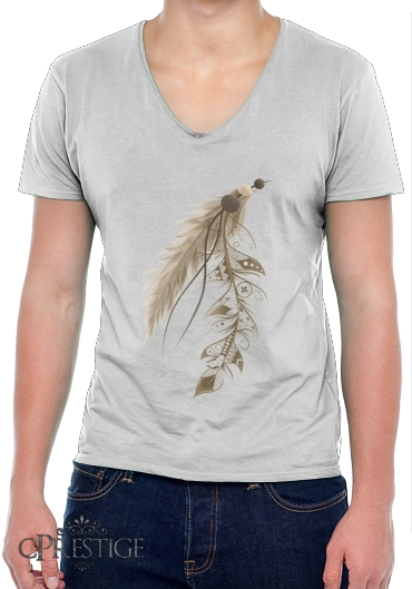 T-Shirt homme Col V Boho Feather