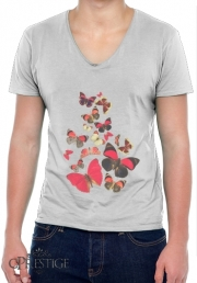 T-Shirt homme Col V Come with me butterflies