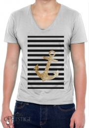 T-Shirt homme Col V gold glitter anchor in black