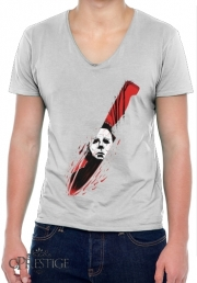 T-Shirt homme Col V Hell-O-Ween Myers knife