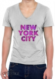 T-Shirt homme Col V New York City Broadway - Couleur rose