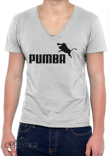 T Shirt homme Col V Puma Or Pumba Lifestyle white Homme