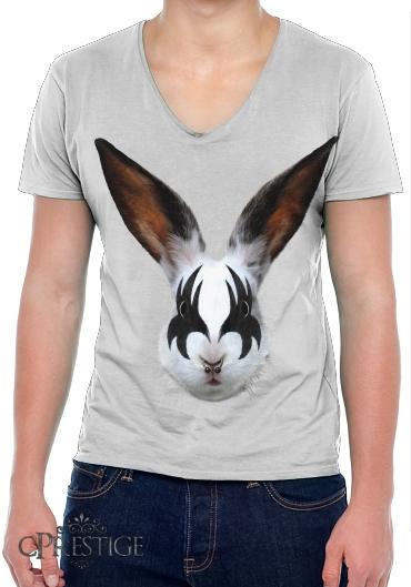 V Punk T Shirt Col Homme White Lapin wFtZT7xq