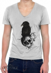 T-Shirt homme Col V Raven and Skull