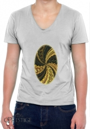 T-Shirt homme Col V Twirl and Twist black and gold