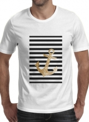 T-Shirt Manche courte cold rond gold glitter anchor in black