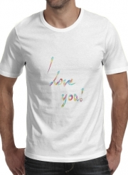T-Shirt Manche courte cold rond I love you texte rainbow
