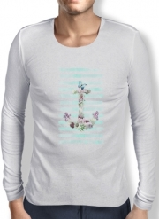 T-Shirt homme manche longue Floral Anchor in mint