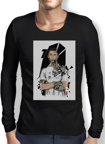 new arrival 16f16 3f2b3 Mens Long Sleeve T-shirt Football Legends: Cristiano Ronaldo - Real Madrid  Robot black - Men