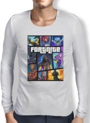 Mens Long Sleeve T-shirt Fortnite - Battle Royale Art Feat GTA