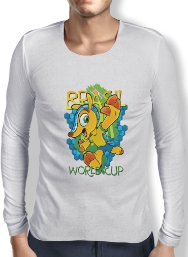Mens Long Sleeve T-shirt Fuleco Brasil 2014 World Cup 01