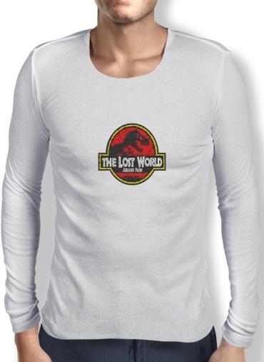 T Shirt Homme Manche Longue Jurassic Park Lost World Trex Dinosaure