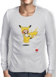 Mens Long Sleeve T-shirt Mario mashup Pikachu Impact-hoo!