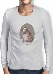 Mens Long Sleeve T-shirt Painting Baby With Owl Cap in a Teacup