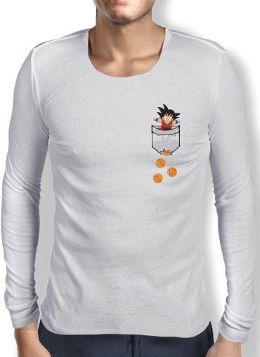 Mens Long Sleeve T-shirt Pocket Collection: Goku Dragon Balls