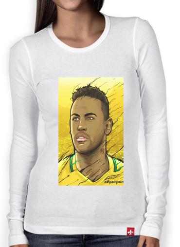 67432e7370770 T-Shirt femme manche longue Brazilian Gold Rio Janeiro white - Femme