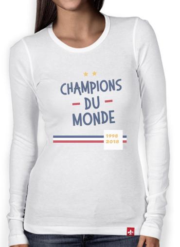 T Shirt femme manche longue Champion du monde 2018 Supporter France white Femme