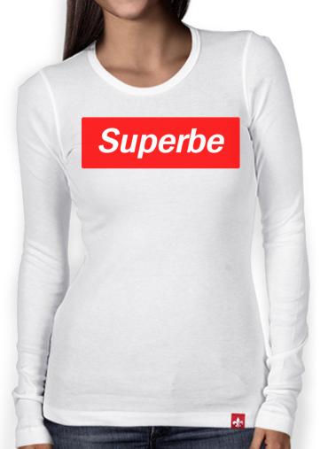 97bfa3159251 T-Shirt femme manche longue Message Humour Superbe Supreme Parodie ...  supreme t shirt femme blanc