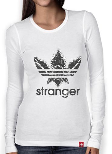 T Shirt femme manche longue Stranger Things Demogorgon Monstre Parodie Adidas Logo Serie TV white Femme