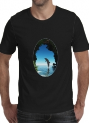 T-shirt short sleeve round neck  Dolphin in a hidden cave