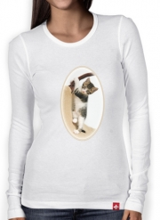 Women Long Sleeve T-shirt Baby cat, cute kitten climbing