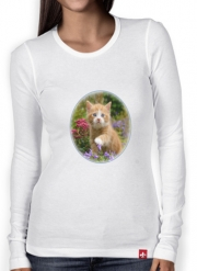 Women Long Sleeve T-shirt Cute ginger kitten in a flowery garden, lovely and enchanting cat