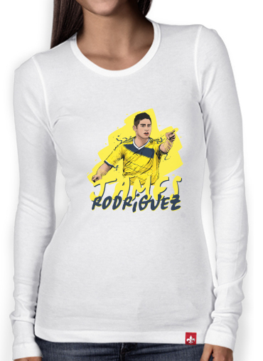 new concept faead 8c953 Women Long Sleeve T-shirt Football Stars: James Rodriguez - Colombia white  - Women