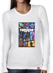 Women Long Sleeve T-shirt Fortnite - Battle Royale Art Feat GTA
