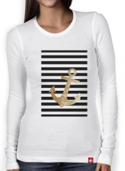 Women Long Sleeve T-shirt gold glitter anchor in black