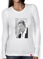 Women Long Sleeve T-shirt johnny hallyday Smoke Cigare Hommage