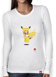 Women Long Sleeve T-shirt Mario mashup Pikachu Impact-hoo!