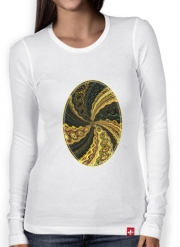 Women Long Sleeve T-shirt Twirl and Twist black and gold