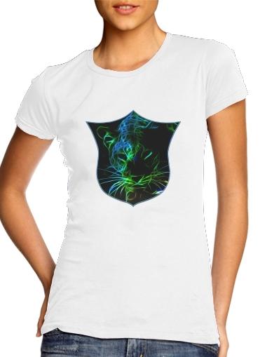 Abstract neon Leopard für Damen T-Shirt