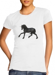 Women T-shirt short sleeve round neck  Black Unicorn