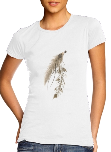 Women T-shirt short sleeve round neck  Boho Feather