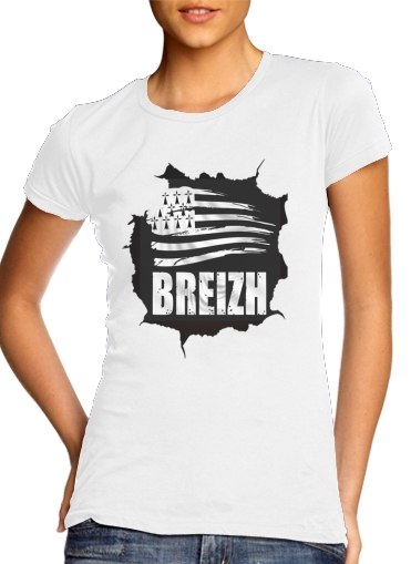 Breizh Bretagne para T-shirt branco das mulheres