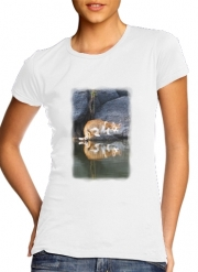 Women T-shirt short sleeve round neck  Cat Reflection in Pond Water
