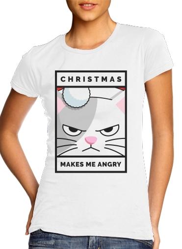 T-Shirts Christmas makes me Angry cat