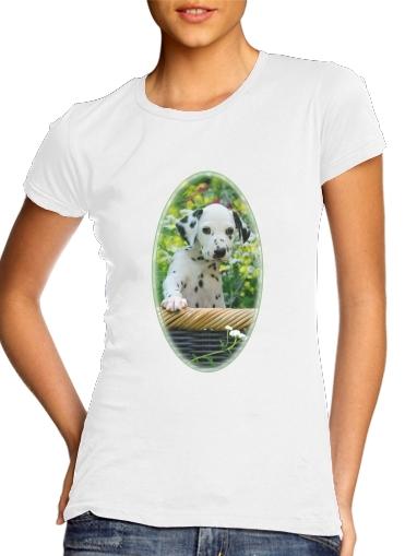 Dalmatiner Welpe in einem Korb  für Damen T-Shirt