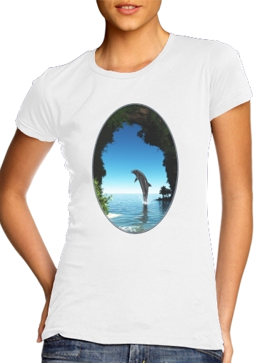 Dolphin in a hidden cave für Damen T-Shirt