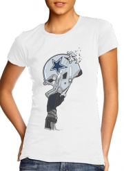 Women T-shirt short sleeve round neck  Football Helmets Dallas