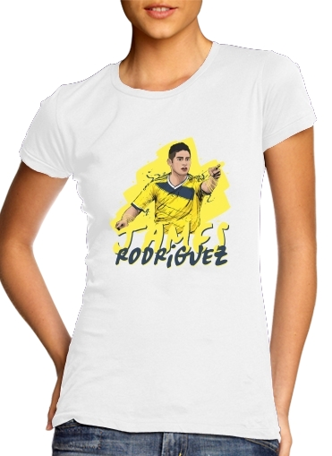 Women T-shirt short sleeve round neck  Football Stars: James Rodriguez - Colombia