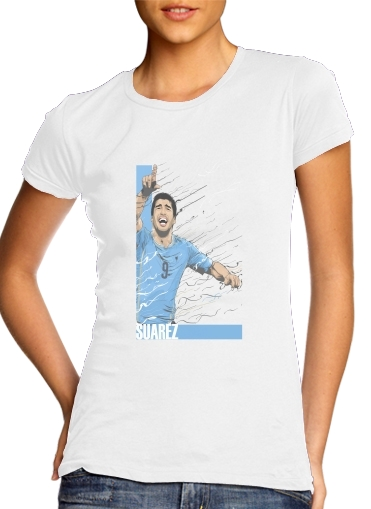 Women T-shirt short sleeve round neck  Football Stars: Luis Suarez - Uruguay