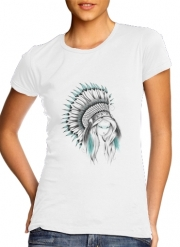 Women T-shirt short sleeve round neck  Indian Headdress