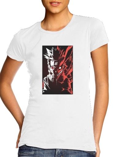 Kyubi x Naruto Angry para T-shirt branco das mulheres